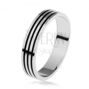 925 ezüst gyűrű, három vékony fekete sáv a kerületén
