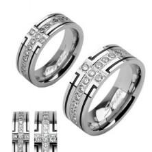 Acél karikagyűrű - két fekete bemart vonallal és cirkónia sávval