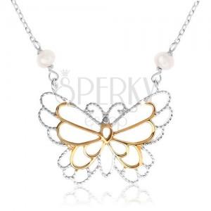 925 ezüst nyakék, pillangó kontúr, beültetett gyöngyházfényű golyók