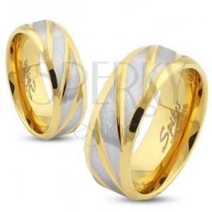 Acél karikagyűrű arany színben, ferde bevágások ezüst színben, 6 mm