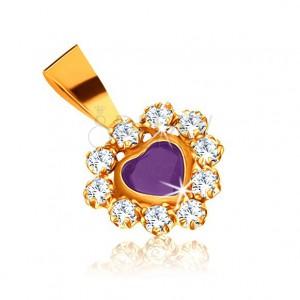 375 arany medál - lila zafír szív, csillogó cirkóniás szegély