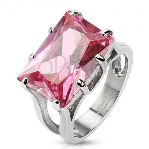 Acél gyűrű ezüst színben, masszív cirkónia - rózsaszín téglalap