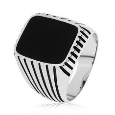 Gyűrű 925 ezüstből, fekete sávok a szárakon, téglalap fekete fénymázzal