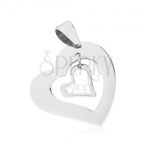 Acél medál, két egyenletes szív kontúr, ezüst szín