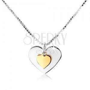 Nyakék 925 ezüstből, két lapos szív ezüst és arany színben