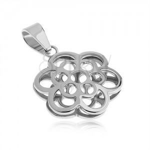 Kétoldalas medál acélból, virág kontúr, ezüst szín