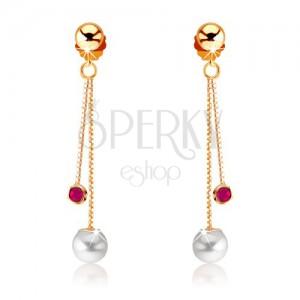 375 lógó arany fülbevaló - kerek piros rubin és fehér gyöngy, láncok