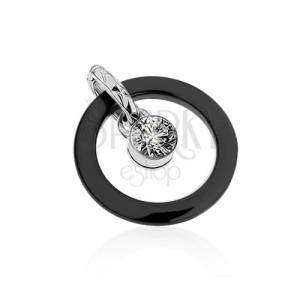 Fekete kerámia kettős medál, kör kontúr, kerek átlátszó cirkónia
