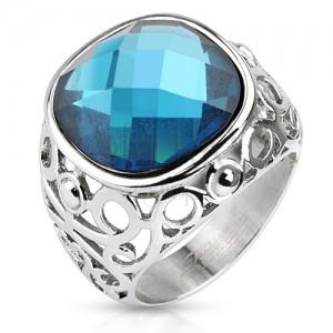 Acél gyűrű, filigránnal díszített szárak, kék csiszolt kő