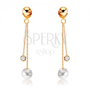 Fülbevaló 9K sárga aranyból - két lánc, gyöngy és átlátszó kő