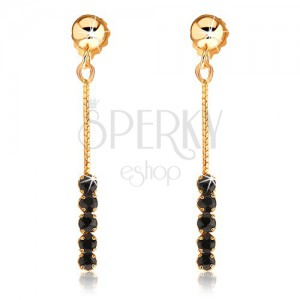 Függő fülbevaló 9K sárga aranyból - fekete zafír sáv láncon