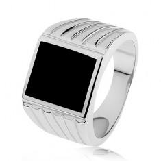 925 ezüst gyűrű, szárak bevágásokkal, fekete fénymázas téglalap