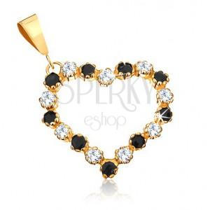 Medál 9K sárga aranyból - szív körvonal átlátszó cirkóniákkal és fekete zafírokkal