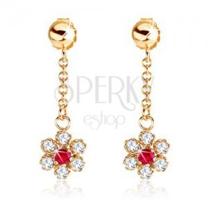 Fülbevaló 9K sárga aranyból - lánc, virág cirkóniákkal és rubinnal