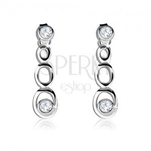 925 ezüst fülbevaló, három ovális kontúr, két kerek átlátszó cirkónia