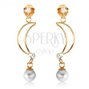Fülbevaló 9K sárga aranyból - vékony félhold kontúr, átlátszó cirkóniák, gyöngy