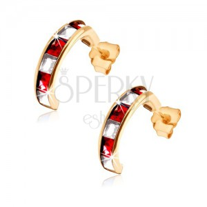 375 arany fülbevaló - félkörök piros rubinokkal és átlátszó cirkóniákkal díszítve