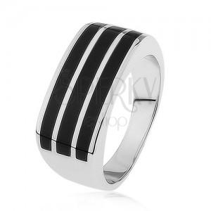 Fényes 925 ezüst gyűrű, három vízszintes sáv fekete fénymázzal