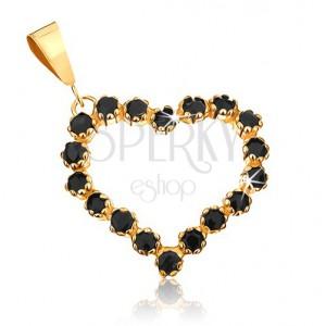 375 arany medál - szimmetrikus szívkörvonal fekete zafírokkal kirakva