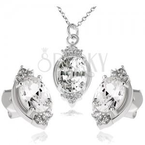 925 ezüst szett, nyakék és fülbevaló, átlátszó cirkóniás ovális és levélkék