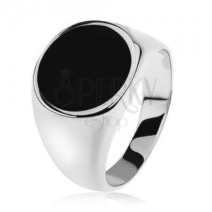 Gyűrű 925 ezüstből, tükörfényű szárak, fekete fénymázas karika