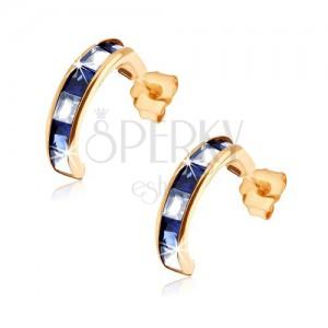 Fülbevaló 9K sárga aranyból - félkörök kék zafírból és átlátszó cirkóniákból