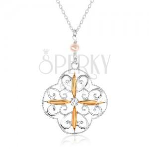 Nyakék 925 ezüstből, virág mintával, oválisok arany színben, cirkónia