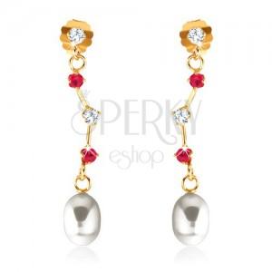 Fülbevaló 9K sárga aranyból - rubinok és cirkónia aszimmetrikus pálcikán, ovális gyöngy