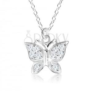 925 ezüst nyakék, medál - pillangó átlátszó kövekkel kirakva