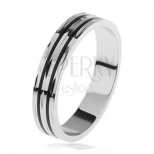 Karikagyűrű 925 ezüstből, két vékony fekete sáv, szemecskés bevágás