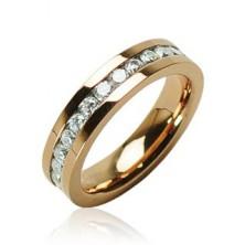 Gyűrű, aranyozott sebészeti acél cirkóniával