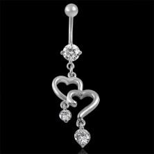 Köldök piercing - két szívecske, cirkónia függők