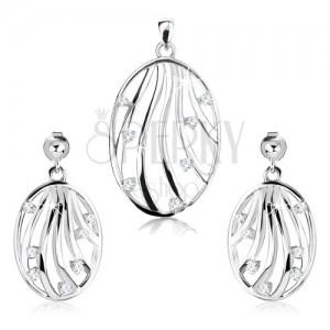 Szett - 925 ezüst fülbevaló és medál, ovális kontúr, hullámos vonalak, cirkóniák