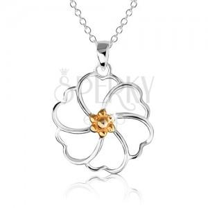 Nyakék 925 ezüstből - virág kontúr aranyozott középpel