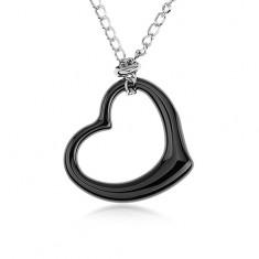 Acél nyakék, fekete kerámia szív kontúr, lánc ezüst színben