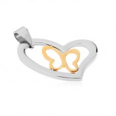 Medál sebészeti acélból, aszimmetrikus szív körvonal, pillangó kontúr arany színben
