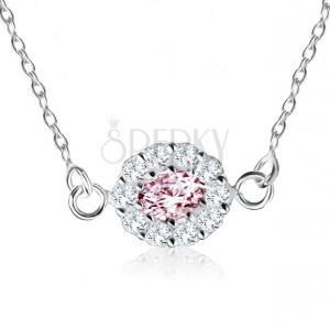 925 ezüst nyakék, rózsaszín cirkóniás ovális átlátszó kövekkel szegélyezve