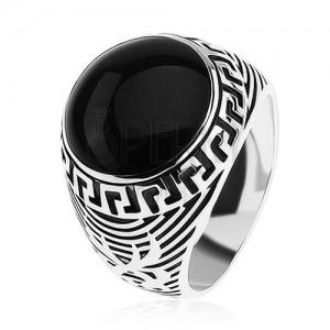 925 ezüst gyűrű, fekete fénymázas kör, görög kulcs minta