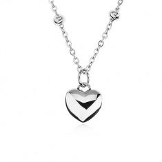 Nyakék sebészeti acélból, golyós lánc, kidomborodó szimmetrikus szív