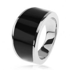 925 ezüst gyűrű - fekete fénymázas sáv, fényes és sima felszín
