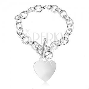 925 ezüst karkötő, ovális láncszemek, lapos és fényes szív