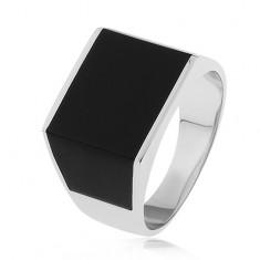 Fényes gyűrű 925 ezüstből, téglalap és trapéz alakú fekete fénymáz