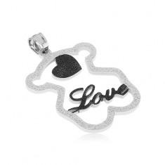 """Acél medál - csillogó maci sziluett, fekete szív, """"Love"""" felirat"""