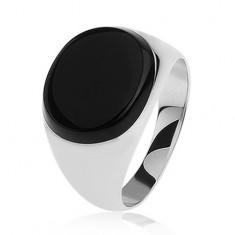 Gyűrű 925 ezüstből - ovális fekete fénymázzal, tükörfény