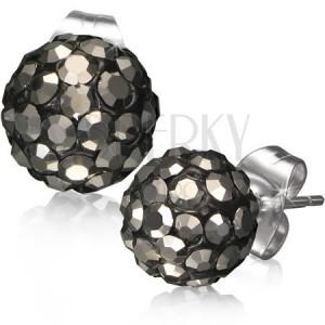 Acél Shamballa fülbevaló - fekete golyók, szürke csiszolt kövek, 8 mm