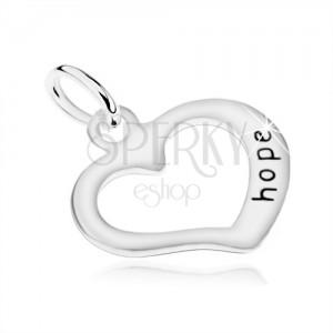 """925 ezüst medál, egyenetlen szív kontúr, """"hope"""" felirat"""