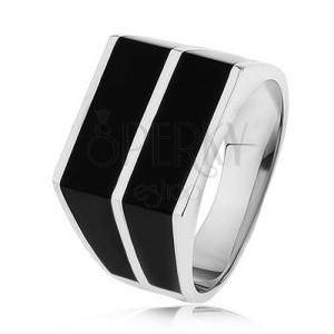 925 ezüst gyűrű - két vízszintes vonal fekete színben, sima felület