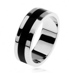 Fényes 925 ezüst gyűrű, fekete fénymázas sáv középen