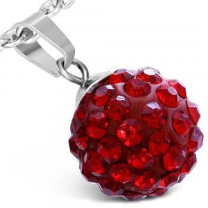 Medál sebészeti acélból - piros golyó, csillogó kövek, 12 mm