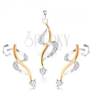 """925 ezüst fülbevaló és medál, """"S"""" vonal, hullám arany árnyalatban, cirkóniák"""